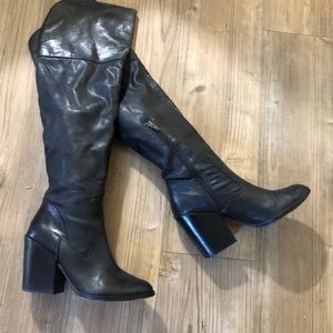 Dolce Vita Black Leather over the knee boots